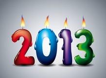 An brûlant 2013 bougies Images libres de droits