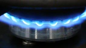 Brûleur à gaz brûlant sur le fourneau banque de vidéos