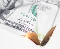 Brûlure de 100 USD Image stock