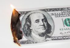 Brûlure de 100 USD Image libre de droits