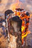 Brûlures finlandaises de bougie avec une flamme lumineuse photographie stock libre de droits