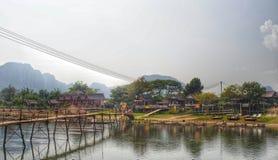 Brücke über Chao Pharay Fluss, Bangkok, Thailand, Asien Lizenzfreie Stockbilder