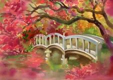 Brücke über dem Fluss lizenzfreie abbildung