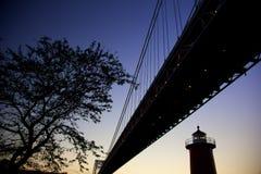 Brücke über dem Schauen des Flusses Stockfotografie