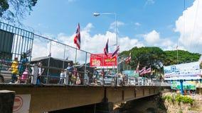 Brücke über der Flussgrenze Thailand und Mynmar Lizenzfreie Stockbilder