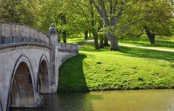 Brücke über Fluss im Park Lizenzfreie Stockbilder