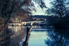 Brücke über Fluss Vidourle, Quissac, Süd-Frankreich stockfoto