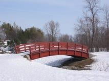 Brücke über gefrorenem Wasser stockbild