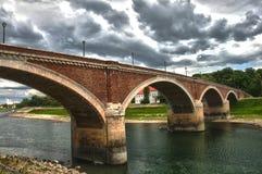 Brücke über Kupa-Fluss Stockfotos