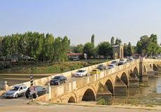 Brücke über Meric River in Edirne, die Türkei Lizenzfreie Stockfotografie