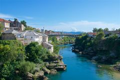 Brücke über Neretva-Fluss in Mostar, in Bosnien u. in Herzegowina Lizenzfreies Stockbild