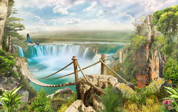 Brücke über Wasserfall stockfotos