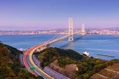 Brücke Akashi Kaikyo in Kobe, Japan Stockbilder