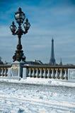Brücke Alexanders 3 in Paris bis zum Winter Stockbild