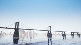 Brücke auf dem klaren Himmel stock video footage
