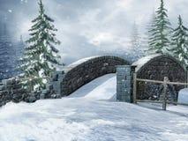 Brücke auf einer Winterwiese Stockfotografie
