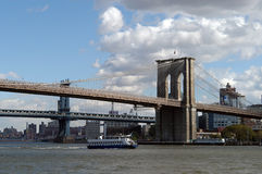 Brücke Brooklyn-, Manhattan Stockbild