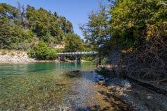 Brücke am Correntoso See - Landhaus-La-Angostura, Patagonia, Argentinien Stockfotografie