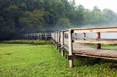 Brücke in das Holz Stockbild
