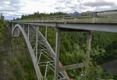 Brücke, die eine tiefe Bergschlucht überspannt Stockfotografie