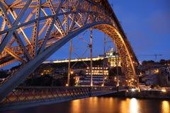 Brücke Dom-Luis nachts, Porto Stockbild