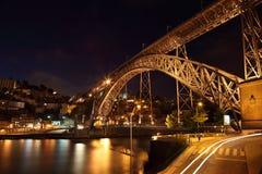 Brücke Dom-Luis nachts, Porto Stockfoto