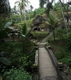 Brücke durch den Dschungel in einem Steintempel Bali Indonesien lizenzfreie stockfotos