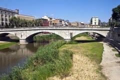 Brücke in Girona Stockbild