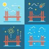 Brücke, golden, Tor, Vektor, San, Francisco, Illustration, Rot, Lizenzfreies Stockfoto