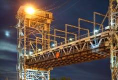 Brücke, hebend, Gegengewicht, Unterstützung, Nacht, Fluss, Schwingen an stockfotografie