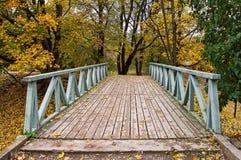 Brücke im Herbstwald Lizenzfreie Stockfotos