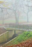 Brücke im nebelhaften Park des Herbstes Lizenzfreie Stockbilder