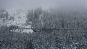 Brücke im Winterschneewald Lizenzfreie Stockbilder