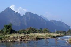 Brücke in Laos Stockfotografie