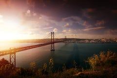 Brücke in Lissabon Portugal Lizenzfreie Stockfotos