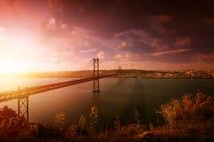Brücke in Lissabon Portugal Lizenzfreies Stockbild