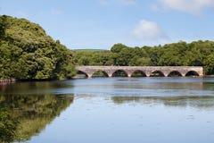 Brücke mit acht Bögen über Bosherston Seen Stockfoto