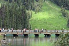 Brücke mit Touristen stockfotos