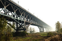 Brücke Nanjings der Jangtse, aufgebaut 1968 Stockbild