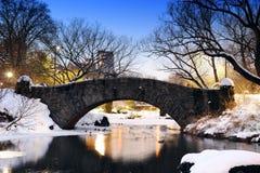 Brücke New- York Citycentral park im Winter Lizenzfreies Stockbild
