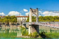 Brücke Old Passerelle du College über der Rhone in Lyon, Franken Stockfotografie
