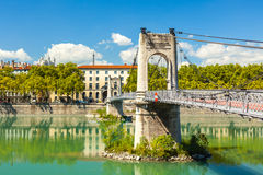 Brücke Old Passerelle du College über der Rhone in Lyon, Franken Stockfotos