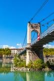 Brücke Old Passerelle du College über der Rhone in Lyon, Franken Stockbilder