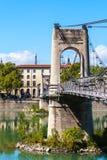 Brücke Old Passerelle du College über der Rhone in Lyon, Franken Lizenzfreie Stockbilder