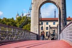 Brücke Old Passerelle du College über der Rhone in Lyon, Franken Lizenzfreies Stockfoto