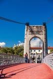 Brücke Old Passerelle du College über der Rhone in Lyon, Frankreich Stockbild