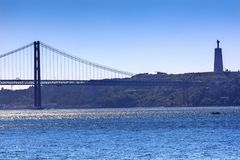 Brücke Ponte 25 April Tagus River Belem Lisbon Portugal Stockfotografie