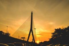 Brücke Rama 8 bei siluate Sonnenaufgang Lizenzfreie Stockbilder