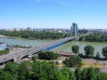 Brücke SNP in Bratislava Stockfoto