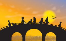 Brücke am Sonnenuntergang Stockbilder